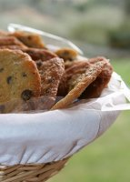 Big Chocolate Chip Cookies In A Bread Basket